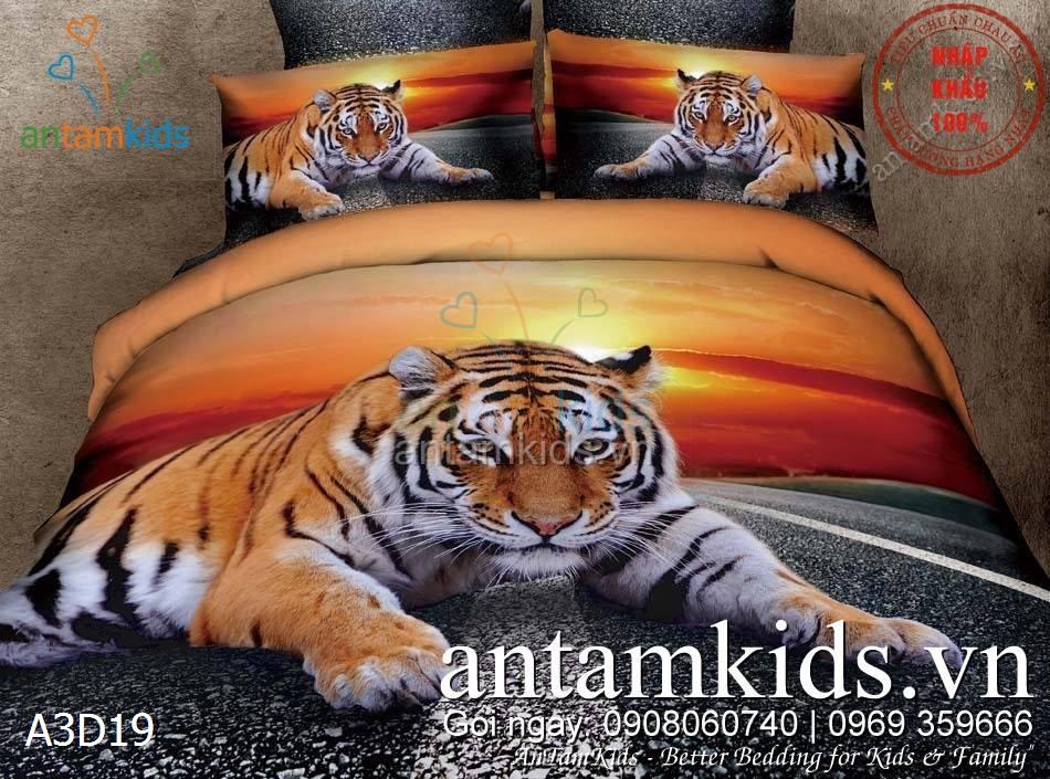 Bộ Chăn mền drap 3D Hổ Mặt trời Tiger Sun mạnh mẽ antamkids