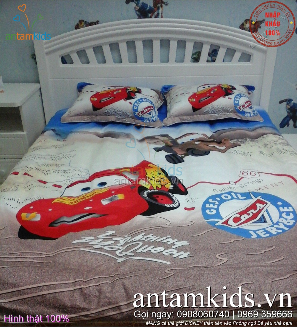 Chăn ga gối hình ô tô McQueen cho bé trai mê xe hơi - AnTamKids.vn