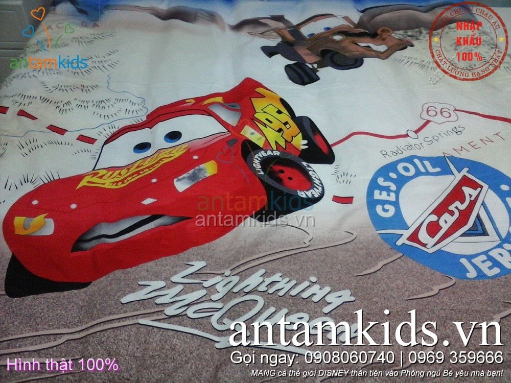 Bộ Chăn ga gối hình ô tô McQueen Disney cho bé trai mê xe hơi - AnTamKids.vn