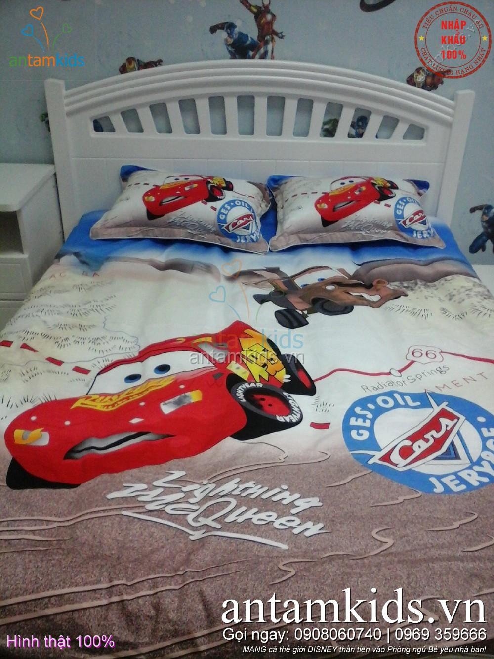 Chăn mền drap ga gối hình ô tô McQueen cho bé trai mê xe hơi - AnTamKids.vn