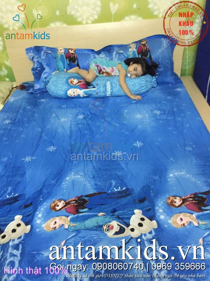 Drap trải giường trẻ em hình công chúa băng giá Disney Frozen anna elsa