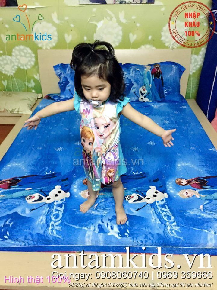 Bộ chăn ga gối Công chúa Frozen Elsa Anna cho bé gái, cho trẻ em màu xanh