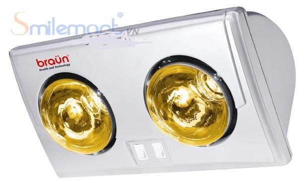 Đèn sưởi nhà tắm Braun 2 bóng vàng bảo hành tới 5 năm