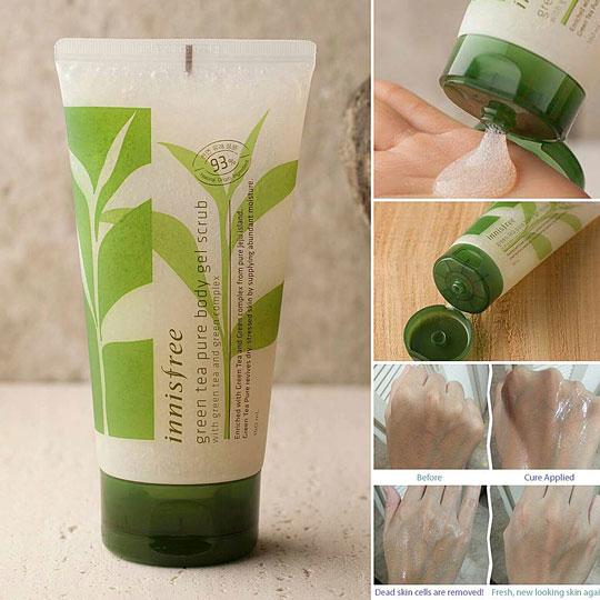 tẩy da chết trà xanh innisfree green tea pure body gel scrub