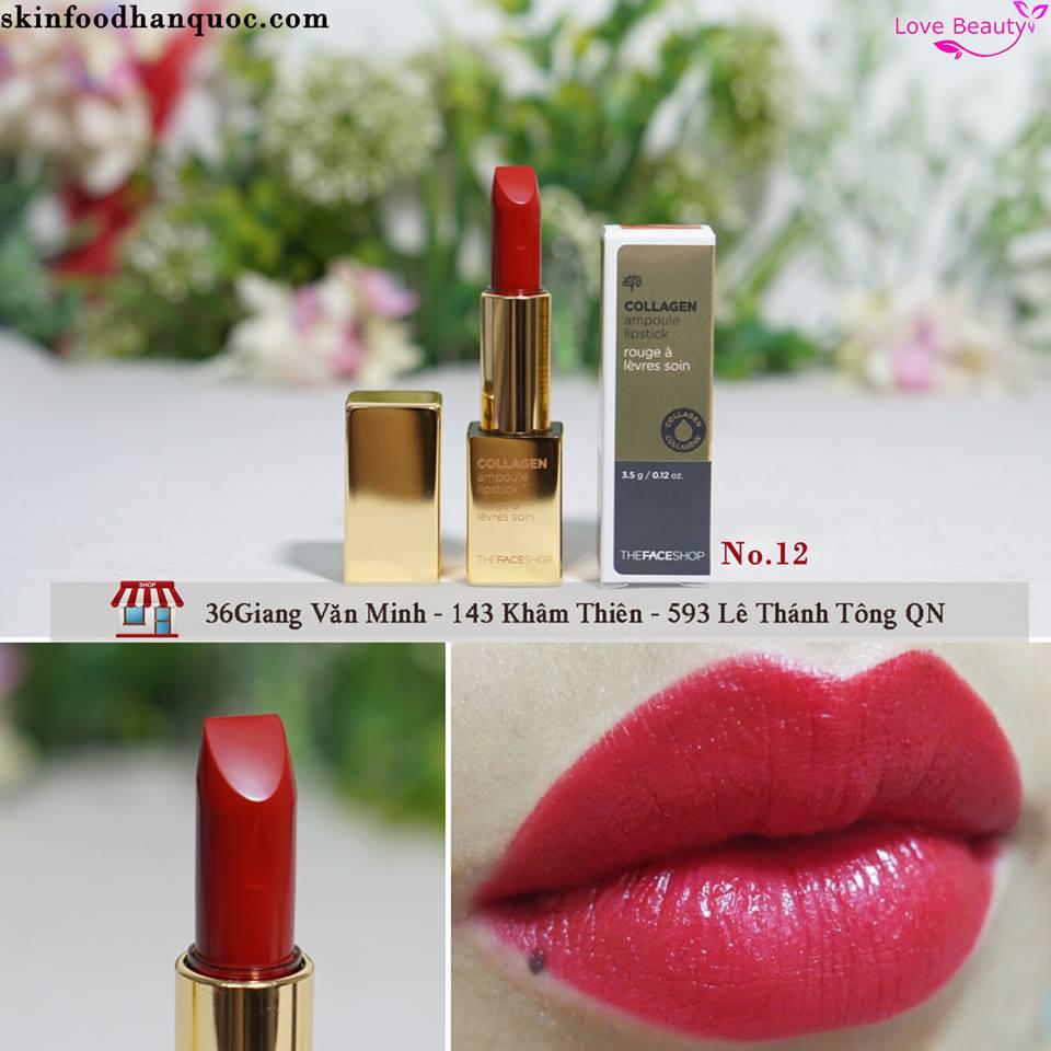 Son Collagen Ampoule Lipstick The Face Shop mầu 12