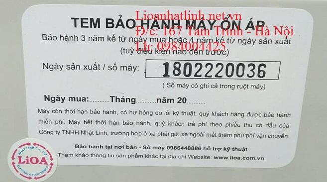 TEM BẢO HÀNH ỔN ÁP LIOA 100KVA 3 PHA DR3 - 100K II
