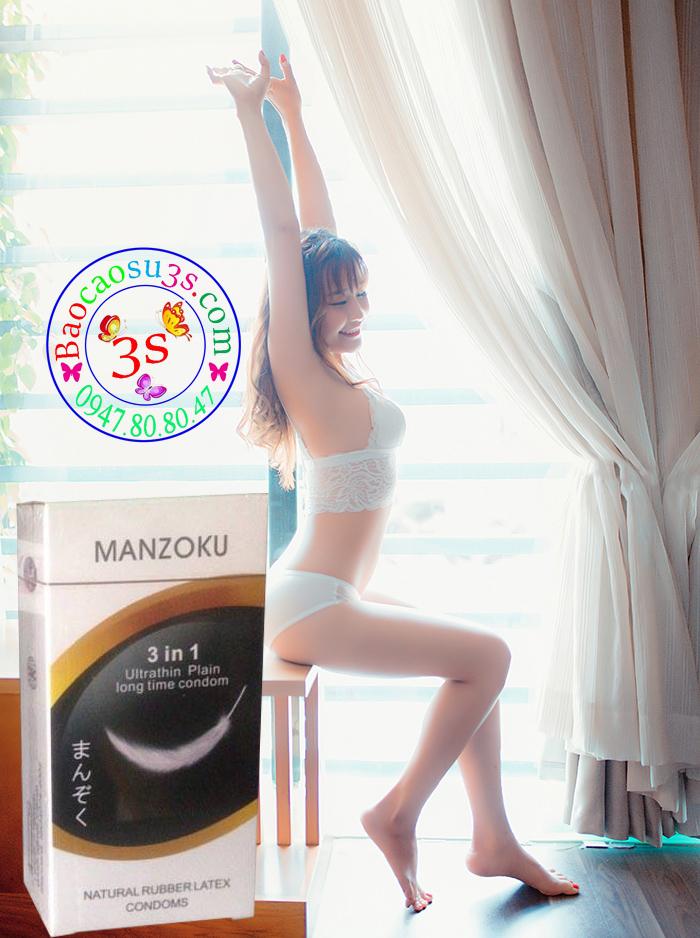 Bao cao su siêu mỏng, chống xuất tinh sớm Manzuku 3 in 1