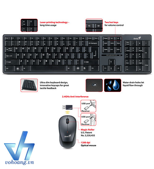Keyboard & Mouse Wireless GENIUS 8000ME
