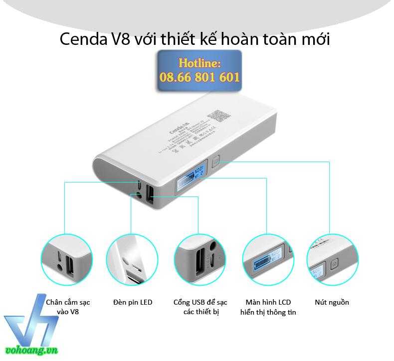 Pin trữ điện thông minh Cenda V8 dung lượng 10.000mAh