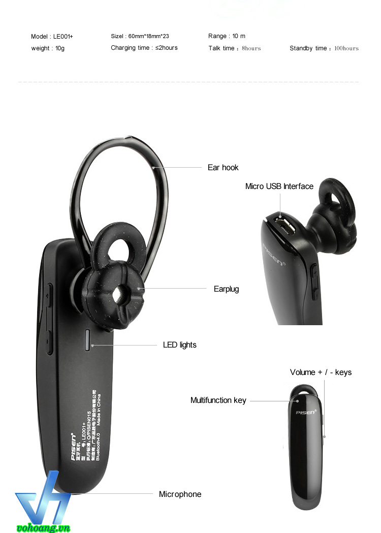 Tai nghe Bluetooth Pisen LE001+