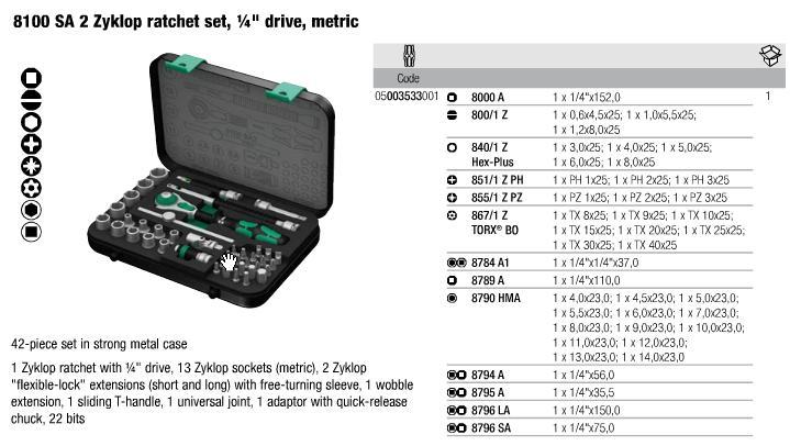 Bộ đầu khẩu Wera, bộ dụng cụ Wera, dụng cụ Wera Germany, Wera 05003533001,, bộ dụng cụ Wera 42 chi tiết loại 1/4 inch