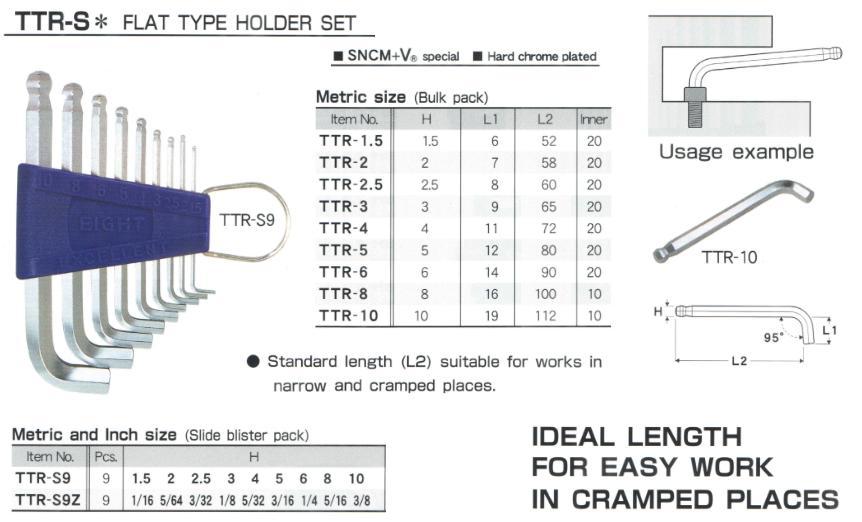 Bộ lục giác  bộ lục chìm cạnh ngắn, EIGHT TTR-S9, TTR-S9, bộ lục giác với cạnh ngắn,
