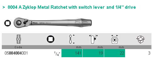 Cần xiết lực 1/4 inch, Wera 05004004001, cần xiết lực Wera 1/4 inch