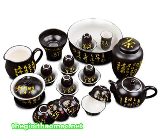 Bộ ấm tách trà có ly vấn hương
