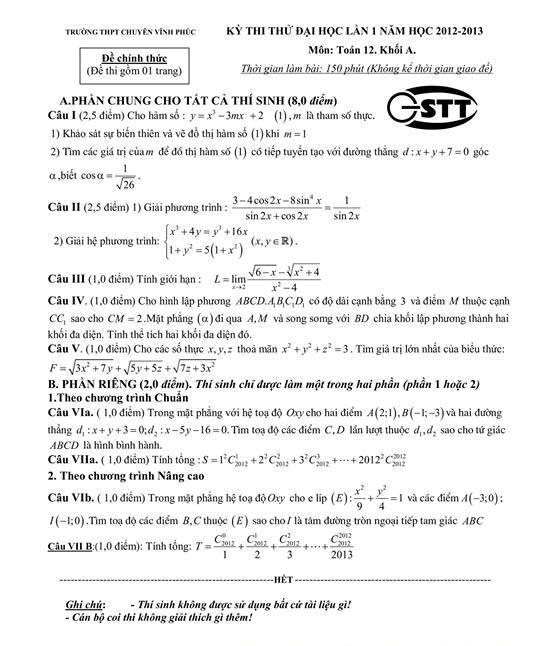 đề thi đại học môn toán khối a năm 2013