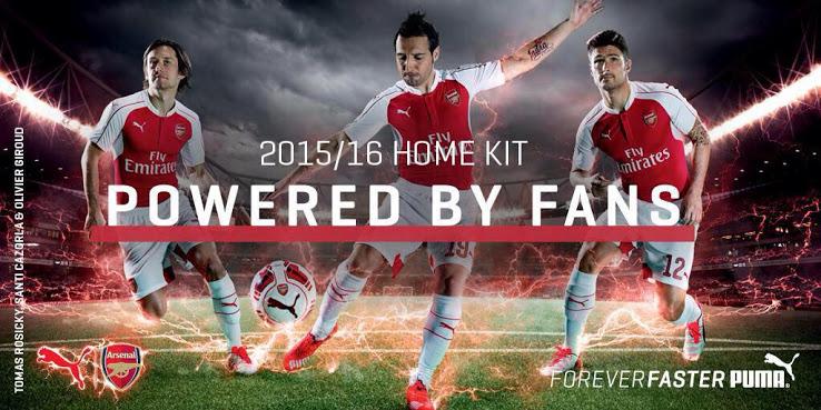 Áo bóng đá Arsenal 2015-2016 sân nhà