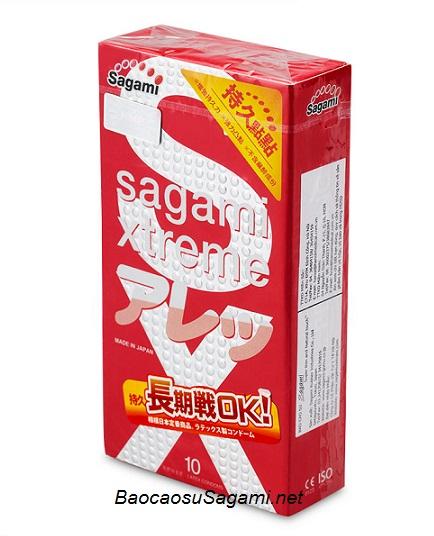 Bao cao su siêu mỏng Sagami Xtreme Feel Long có nhiều chấm bi nổi trên thân bao