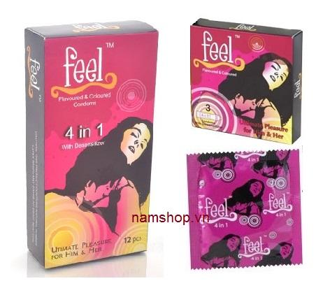 Bao cao su Feel 4 in 1 giúp kéo dài thời gian quan hệ lâu hơn