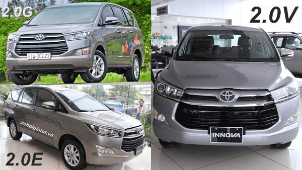 So sánh Toyota Innova 2.0 E - G và V