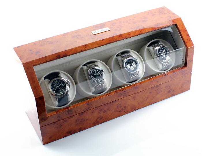 Hộp đựng đồng hồ cơ Heiden Quad Watch Winder in Burlwood, 4 chiếc