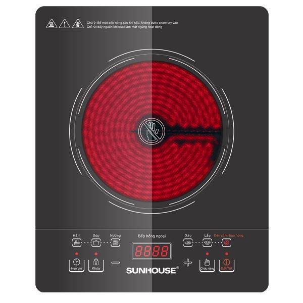 Bếp hồng ngoại cảm ứng Sunhouse SHD6007 có thiết kế hiện đại, sang trọng.