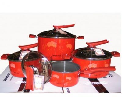 Bộ nồi nấu ăn Magic Chef Rainbow màu đỏ có họa tiết hoa văn bắt mắt