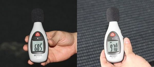 Độ ồn dưới 60 dB được xem là êm. Còn độ ồn từ 77 dB trở lên, theo khuyến nghị là độ ồn làm ô nhiễm môi trường