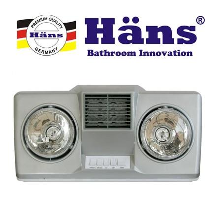 Đèn sưởi nhà tắm HANS 2 bóng có quạt gió H2B-HW