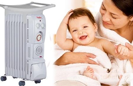Máy sưởi dầu Saiko mang lại mùa đông ấm áp cho mẹ và bé