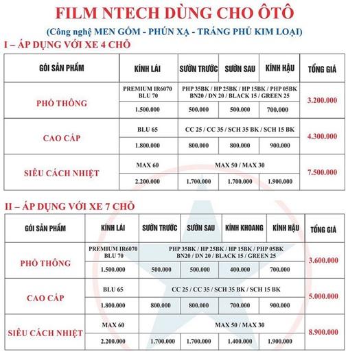 Bảng giá film cách nhiệt ntech 01