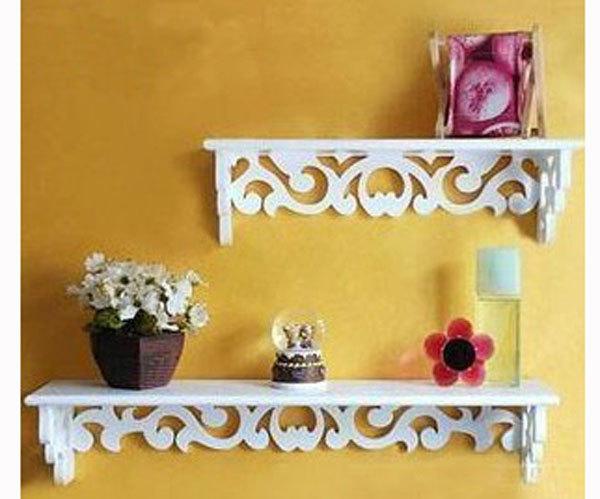 Kệ gỗ hoa văn treo tường 2 tầng HV01
