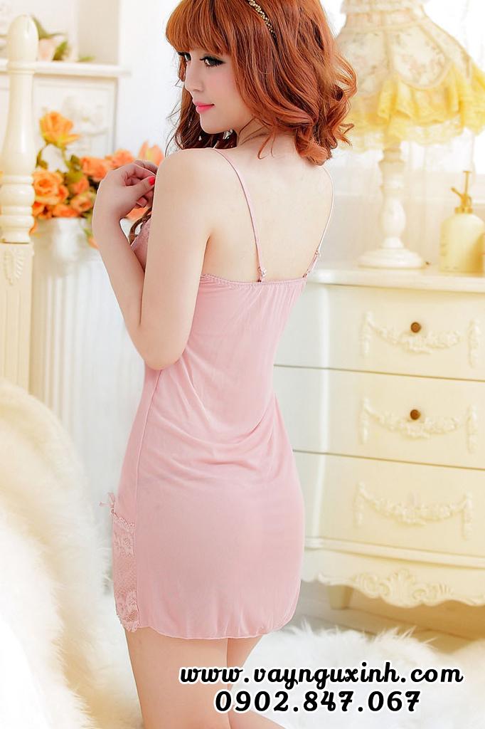 Váy Ngủ Màu Da Chất Liệu Voan 0491