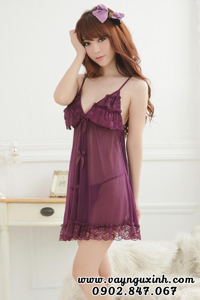 Váy Ngủ Hở Mông Xẻ Sau Cao Cấp Size Lớn 0608 Tím