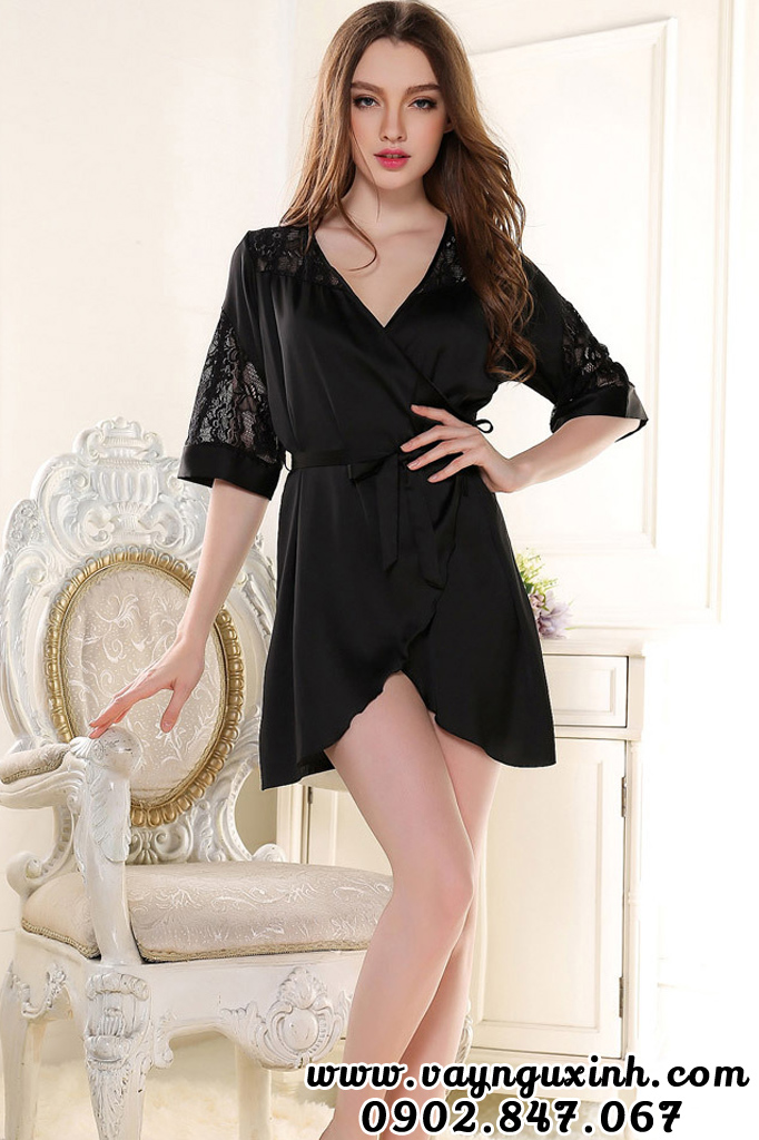 Áo Choàng Ngủ Nữ Lụa Dáng Kimono Đen 0630