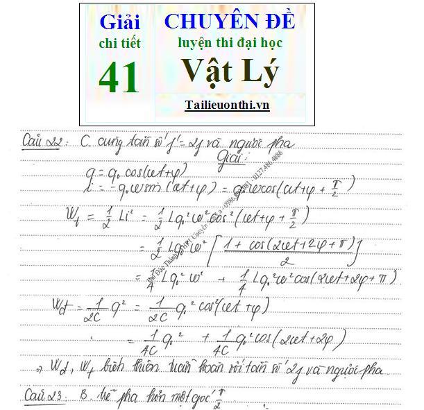 Đề + Lời giải chi tiết 41 chuyên đề ôn thi đại học Vật Lý phần 4