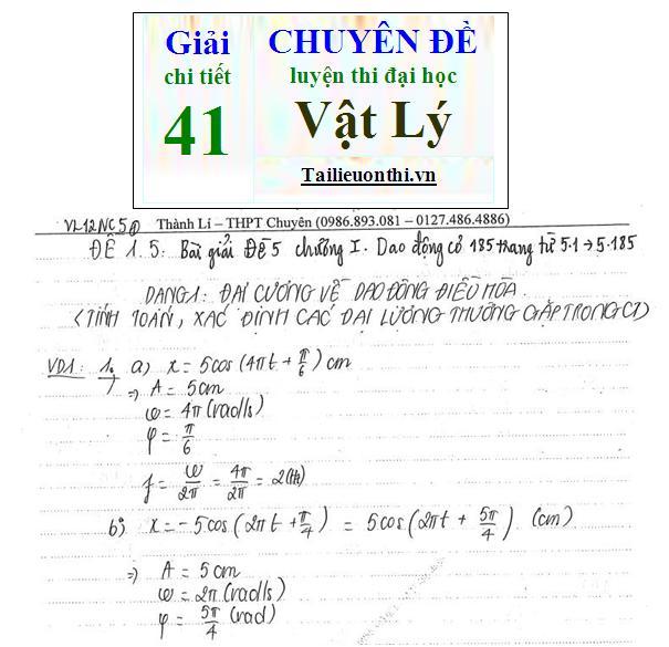 Đề + Lời giải chi tiết 41 chuyên đề ôn thi đại học Vật Lý phần 1