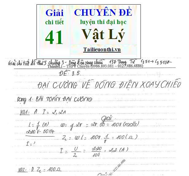 Đề + Lời giải chi tiết 41 chuyên đề ôn thi đại học Vật Lý phần 3