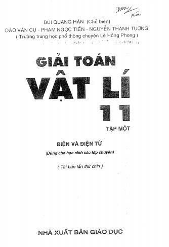 Giải toán vật lý 11 tập 1 - Bùi Quang Hân