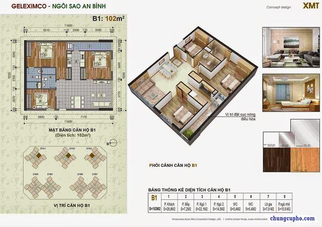 Mặt bằng căn hộ B1 tại chung cư Thành Phố Giao Lưu