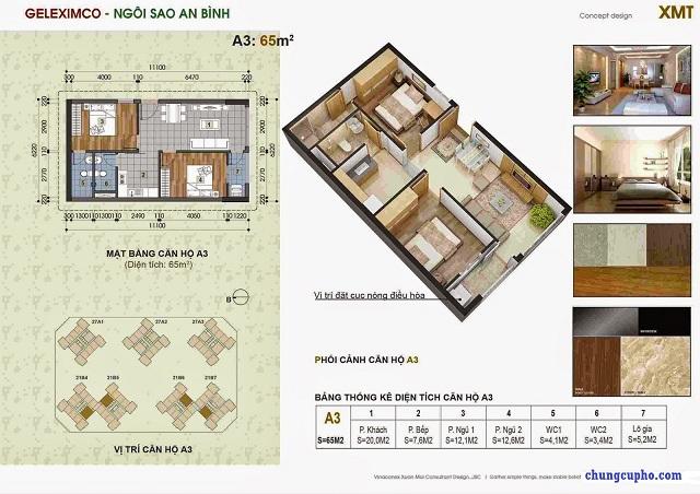Mặt bằng căn hộ A3 tại chung cư Thành Phố Giao Lưu