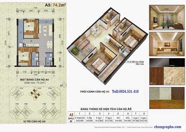 Mặt bằng căn hộ A5 tại chung cư Thành Phố Giao Lưu
