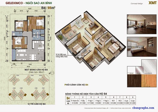 Mặt bằng căn hộ B4 tại chung cư Thành Phố Giao Lưu