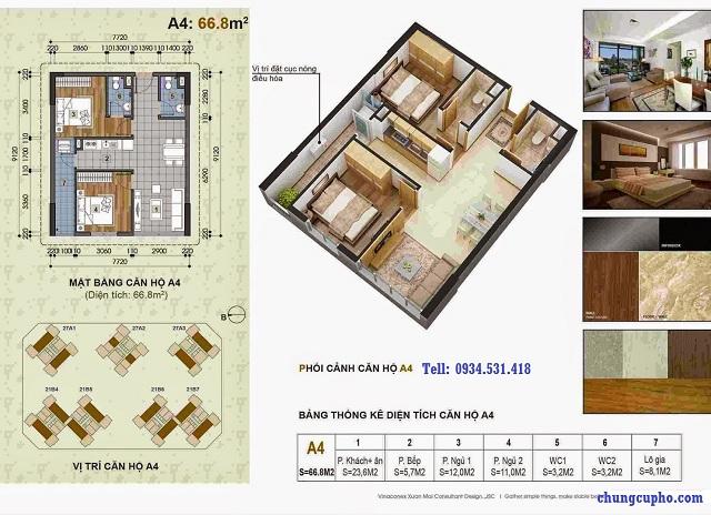 Mặt bằng căn hộ A4 tại chung cư Thành Phố Giao Lưu