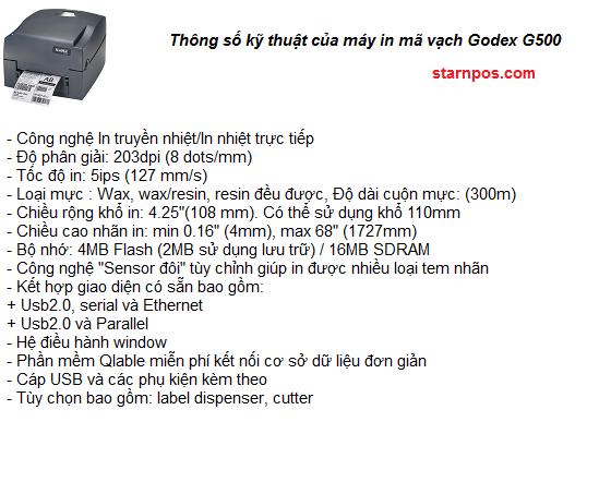 mô tả thông số kỹ thuật của máy in mã vạch godex G500