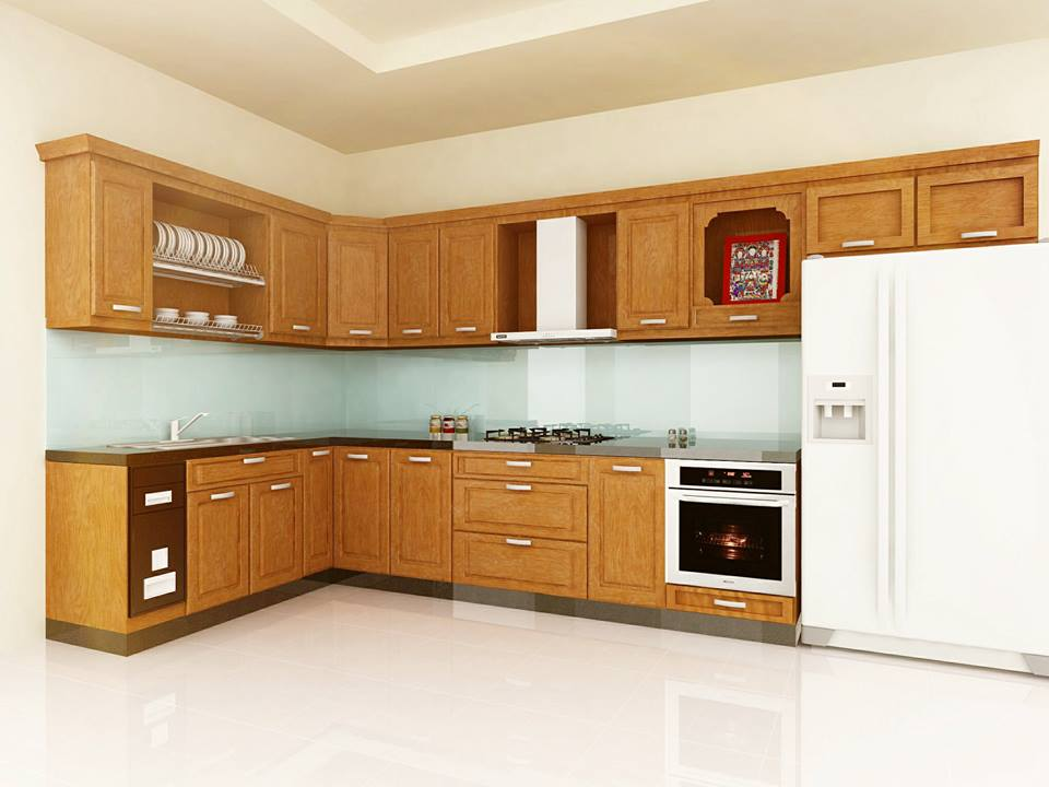 tủ bếp gỗ sồi nga sơn pu