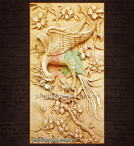 phu dieu chim hoa, phù điêu chim và hoa