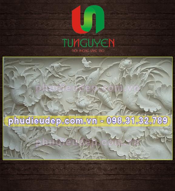 phù điêu hoa sen, phù điêu sen, phù điêu hoa lá, phudieudep.com.vn