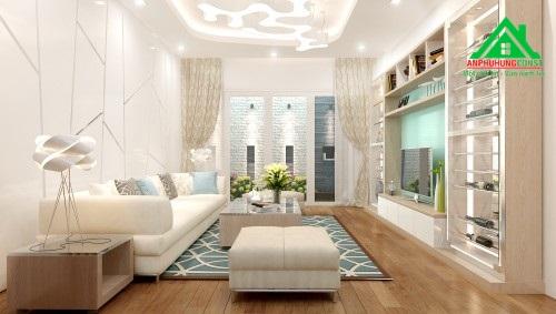 Phối cảnh 3D khu vực phòng khách.