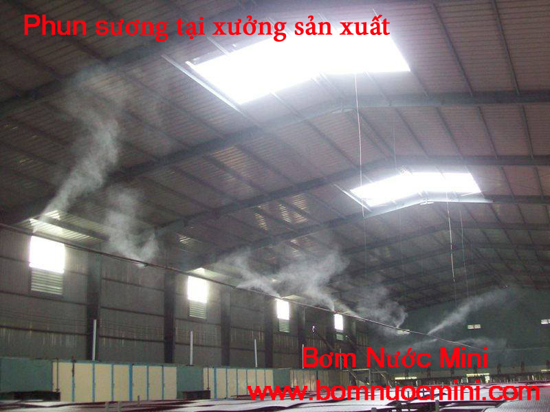phun sương kho xưởng