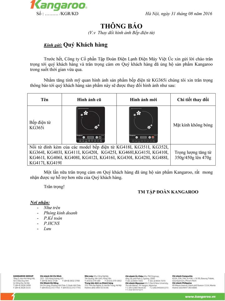 Thay đổi hình ảnh bếp điện từ KG365i
